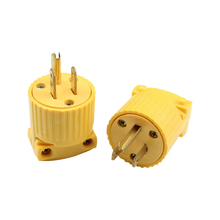 Yellow 5-15P 125V 15A 3 pole US Detachable Industry Power Converter Plug Inline Wire Connector Removable 10Pcs