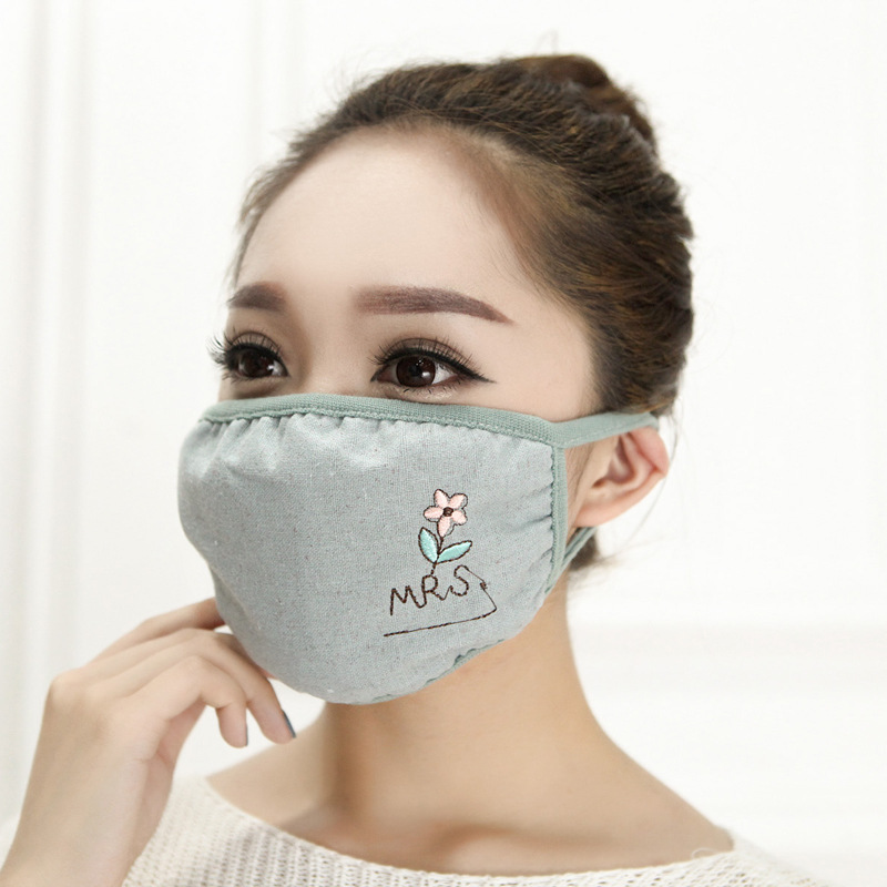 10pcs/Pack New Embroidered Face Mask Ladies' Pure Cotton Ventilation Warm And Lovely Autumn And Winter Persoanimal Collection