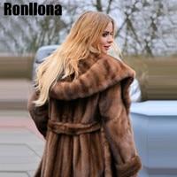 Супер X длинные Тип Для женщин реального норки пальто дамы натурального меха пальто роскошный норки меховая одежда зима теплая большой прод