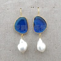E121515 White Keshi Pearl Blue Crystal Earrings