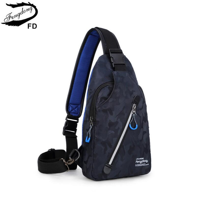 FengDong waterproof blue camouflage men travel chest bag boy Rucksack male one shoulder sling back Pack crossbody bags for women рюкзаки кенгуру casualplay sling bag blue monkey