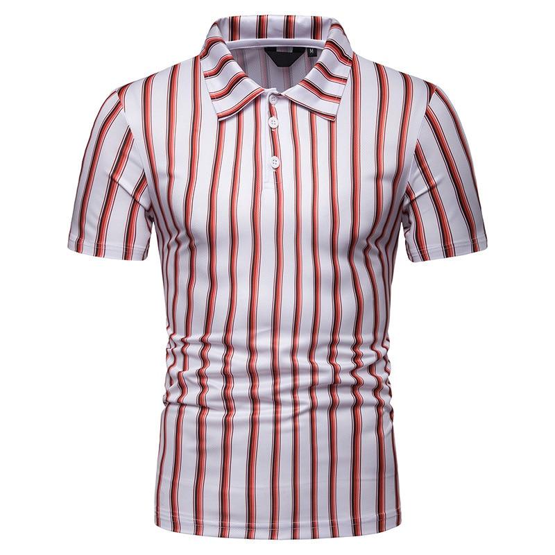 Striped Polo Shirt Men 2019 Summer Fashion Contrast Short Sleeve Cotton Breathable Camisa Polo Slim Casual Men's Polos XXL