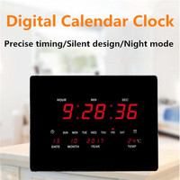 LED Digital Wall Clock Digital Alarm Clock EU Plug Power Crystal Electronic Calendar Desktop Clock Despertador Clock Home Decor