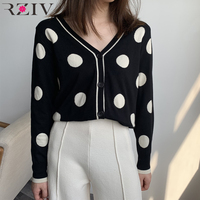 RZIV Spring women sweater dot print casual long sleeved V neck sweater
