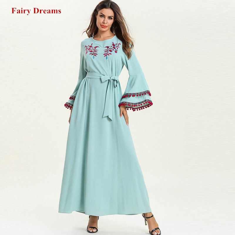 Мусульманское Бандажное платье плюс размер одежда из Дубая для женщин макси платья с длинным рукавом вышивка кафтан турецкий исламский халат одежда