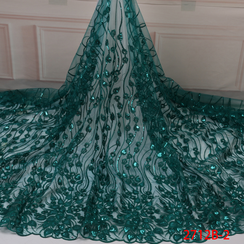 African Sequin Lace Fabric 2019 High Quality Lace French Net Embroidery Tulle Lace Fabric For Nigerian Party KS2712B-2