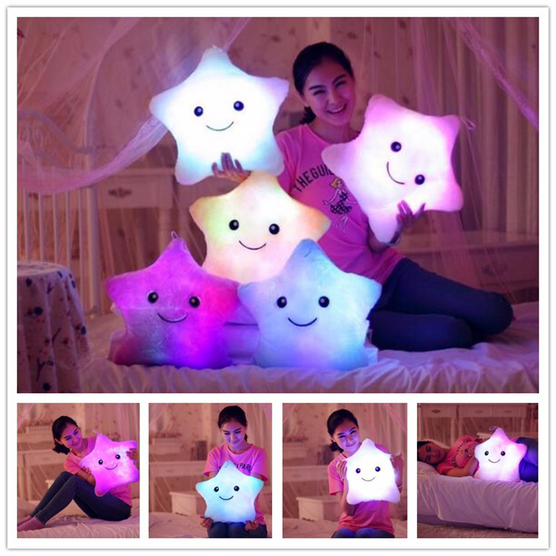 1pc 38cm Colorful Star Shape Toys Star Glowing LED Luminous Light Pillow Soft Relax Gift Smile Body Pillow Valentines Gift W0106 chic colorful paillette pattern square shape flax pillowcase without pillow inner