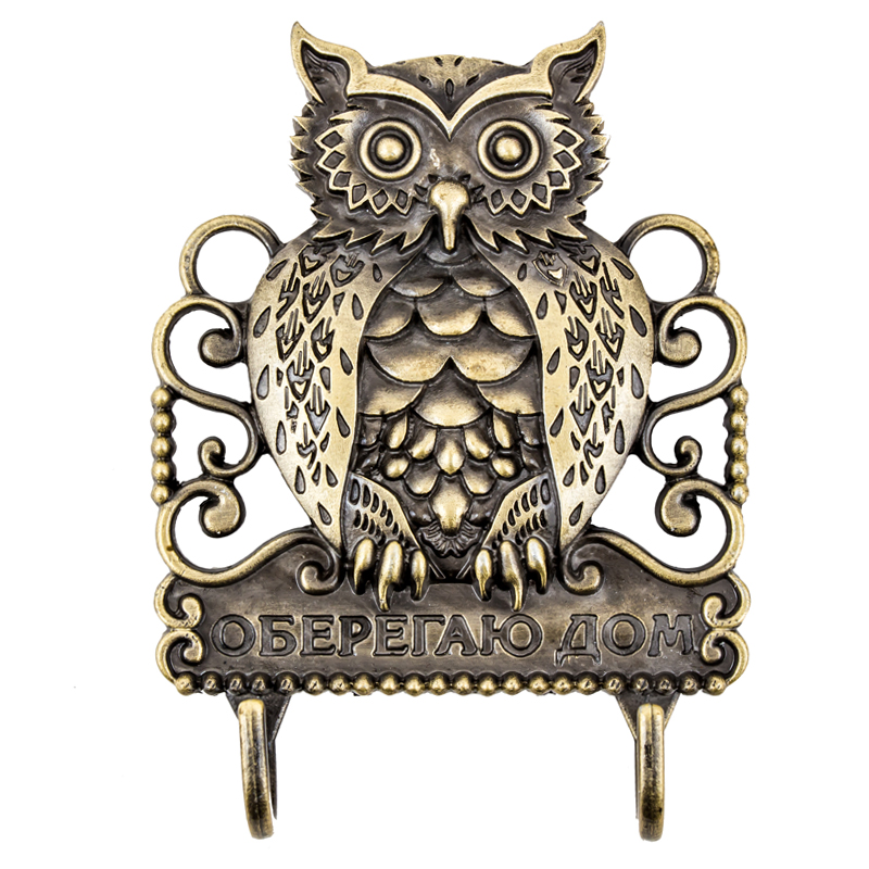 Russian Originality hook for keys.Wall hook owl stickers hook hanger Vintage creative furniture crafts Protect the house