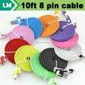 Durable 3 m/10ft Plano Noodle Tecido trançado Nylon 8 pinos USB Carregador de Dados tecido cabo para iphone 7 6 plus 5 ios 10 9 100 pçs/lote