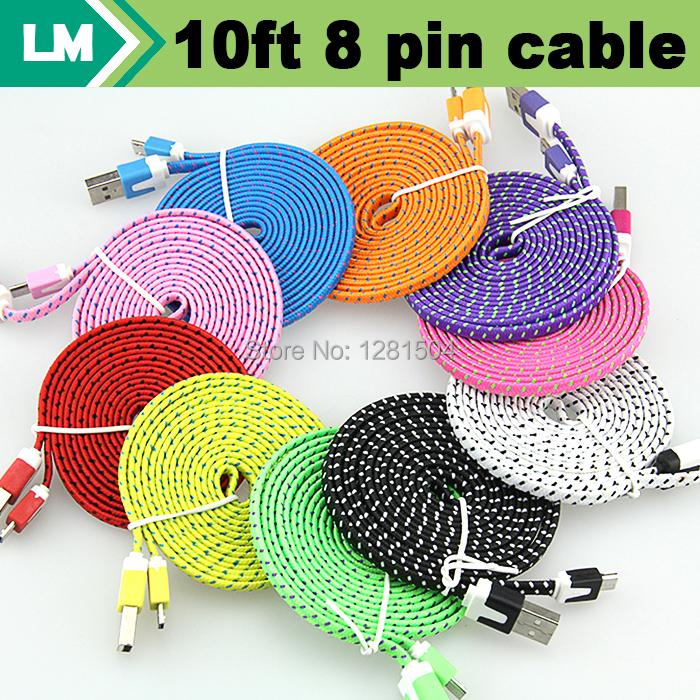 Prix pour Durable 3 m/10ft Plat Tissu Nylon tressé de Nouilles 8 broches USB Data Chargeur tissé câble pour iphone 7 6 plus 5 ios 10 9 100 pcs/lot