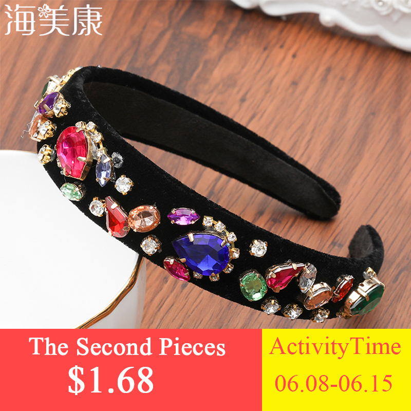 Haimeikang Baroque Jeweled Headband Women Wedding Bride Crystal Hairband Rhinestone Bezel Elegant Hair Accessories   Headwear