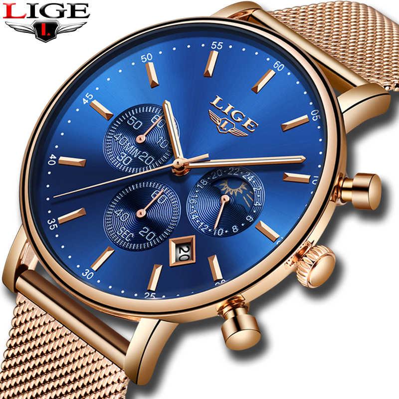 LIGE แฟชั่นผู้หญิงสีฟ้านาฬิกาควอตซ์สายนาฬิกาคุณภาพสูงกันน้ำนาฬิกาข้อมือของขวัญ Moon Phase นาฬิกา