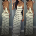 2016 New Fashion Women Summer Vestidos Dresses Sexy Spaghetti Strap  Party Bandage Bodycon Evening Wedding Striped Long Dresses