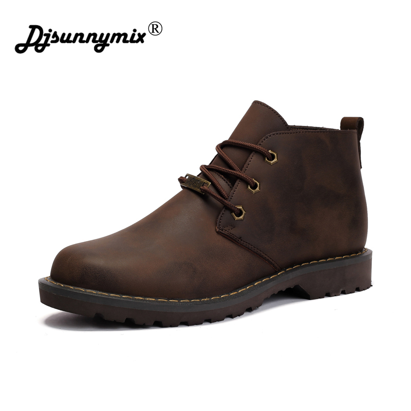DJSUNNYMIX Men Work Boots Brown Black 38-44 Men Martin shoes 2018 Hot Sale