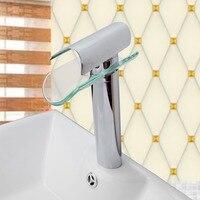Yüksek Kaliteli Banyo Musluk, gelişmiş Modern cam şelale çağdaş Krom Pirinç Banyo havzası evye Mikser şelale Dokunun
