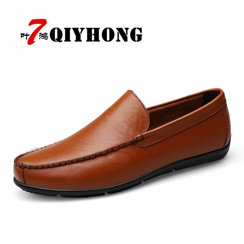 QIYHONG  Leather & Fur Vintage Genuine Leather Soft Loafers for Men Slip On Moccasins Boat Flats Shoes Mens Shoes Comfort dxkzmcm men s casual shoes genuine leather soft loafers for men slip on moccasins boat flats shoes