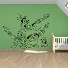 Creative large wall sticker DIY bedroom cute Mickey Mouse Goofy wall stickers for kids rooms home decoration wall stickers