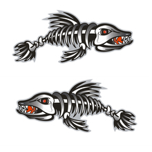 2 Pcs Car-Styling Car Skeleton Fish Bones Vinyl Decal Sticker Car Graphics Funny Sticker For Kayak Boat Car Truck Etc 18x7.86cm