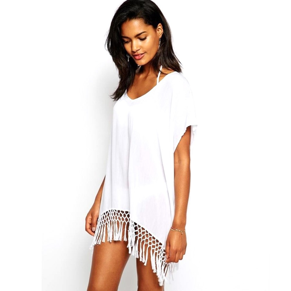 Hot Sales 2017 Brand Women Dresses Sexy Chiffon Swimwear Knitted Crochet Summer Beach Dress Tassel Vestidos