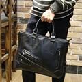 KIBDREAM Vintage Men Briefcase Business Handbag Men's Shoulder Bags Crazy Horse PU Leather Crossbody Male Laptop Bag Black
