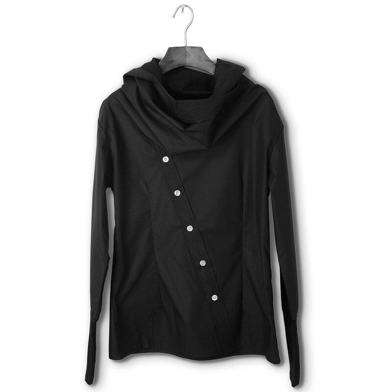 As quatro estações edição Coreana pure color slim e casual homens long-sleeved camisas inclinada gola alta preta fina e camisas.