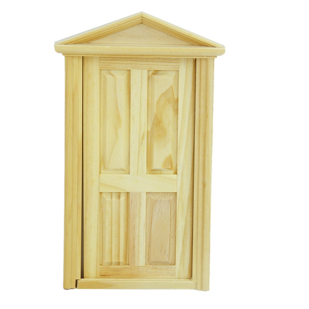 MYMF 1/12 <font><b>Dollhouse</b></font> <font><b>Miniature</b></font> Exterior Inward-Open Wood Door with Steepletop Wooden Door Matching Frame <font><b>dollhouse</b></font> Accessories image