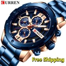 Curren Mens Watches Top Brand Luxury waterproof Fashion Quartz Male Wrist Watches Stainless Steel Chronograph Watches Man 2019