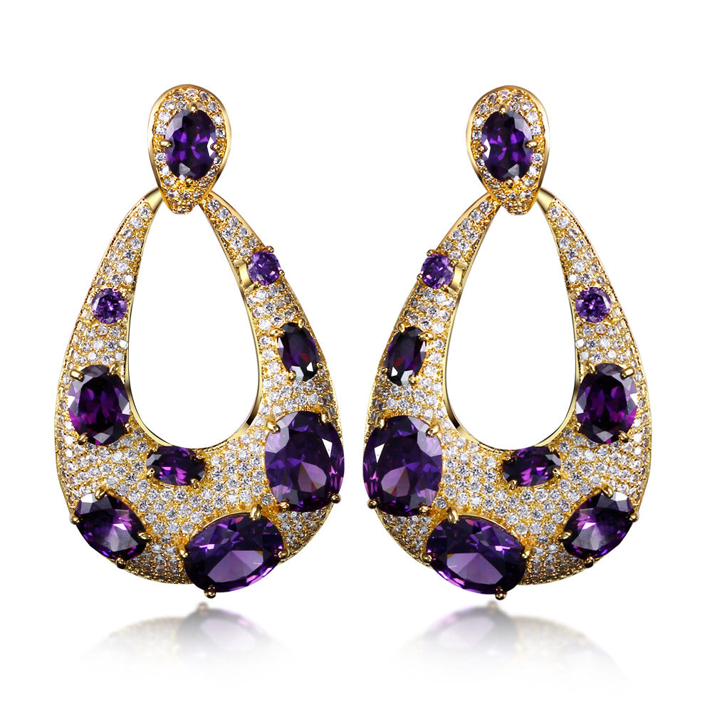 4 Colors New Water Drop Earrings Gold Color Purple Champagne Red Clear Oval Cut Cubic