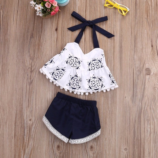 8424327d2e3 Puseky Cute Newborn Baby Girl Clothes 2018 Summer Sleeveless Tank Top  Tassel T-shirt + Short Pant 2PCS Outfit Bebes Giyim Suit