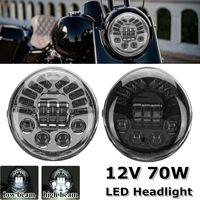 Черный/хром 12 В 70 Вт мотоциклетные светодиодный фары лампы проектора DRL Hi/Lo луч для Harley V стержень