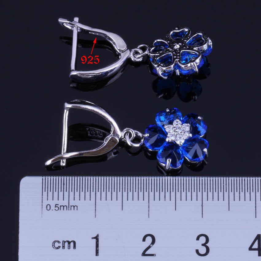 Yang Luar Biasa Bunga Biru Putih Berlapis Perak CZ Dicap 925 Drop Anting-Anting Menjuntai V0767