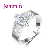 Jemmin Hot 925 Sterling Silver Wedding Rings For Women Jewelry Oval Crystal White Opal Engagement Bands Finger Ring Accessory