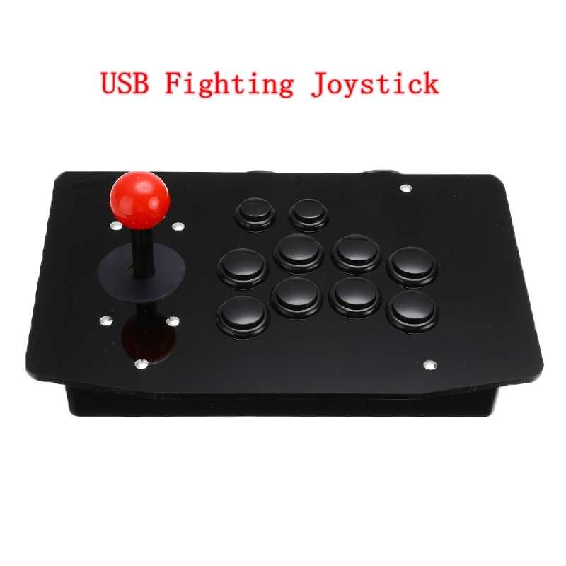 Akrilik Kabel USB Joystick Arcade Pertempuran Tongkat Gaming Controller Gamepad Video Game untuk PC