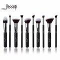 Jessup 10 pcs professional make up brushes set fundação kabuki pincel de blush em pó sobrancelha eyeshadow blending brushes preto/prata