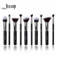Jessup 10Pcs Professional Make Up Brushes Set Foundation Blusher Kabuki Powder Eyeshadow Blending Eyebrow Brushes Black