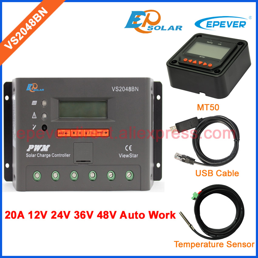 solar 20A controller solar charger battery 48V work VS2048BN PWM EPEVER USB and Temp sensor MT50 remote meter 20amp solar charger battery controller pwm 20a ls2024b with the mt50 remote meter and ebox wifi 01 funciton box