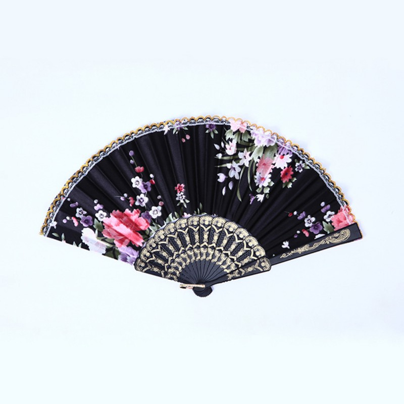 Wedding Bridal Party Folding Retro Flower Fabric & Plastic Hand Held Dance Fan Favor Pocket