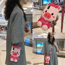 3d bow pig shoulder strap silicone case for iphone 7 8 6 6s plus XR X XS MAX cover cute cartoon soft anti-knock phone bag