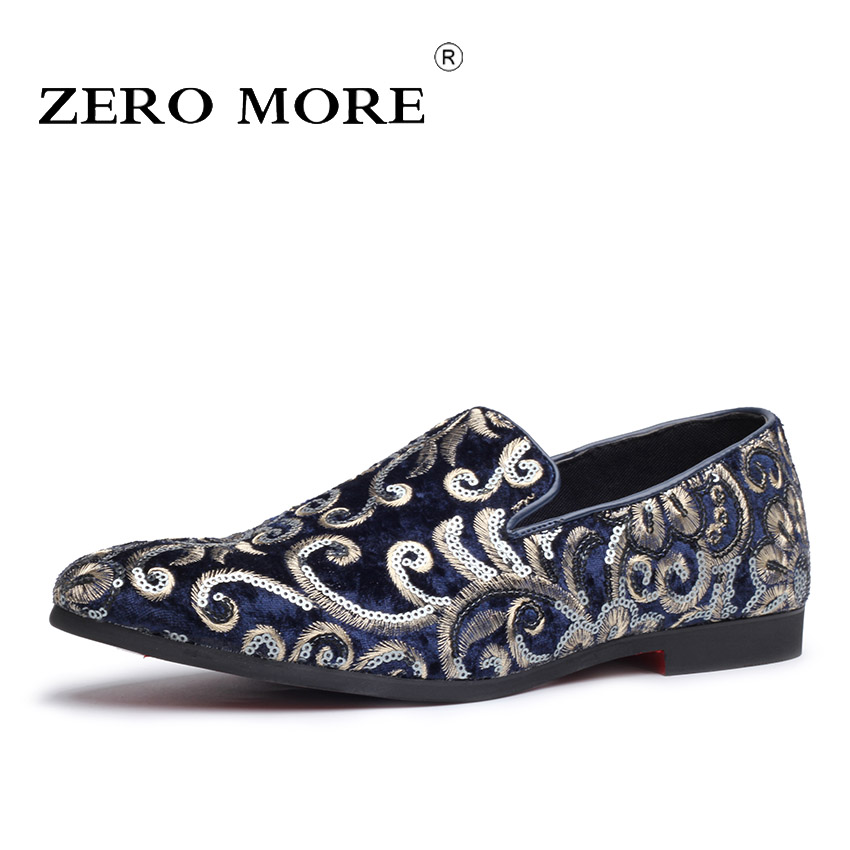 ZERO MORE Soft Embroidery Slip On Shoes Men Casual Italian Fashion Mens Shoes Casual Luxury Loafers Flock Drivings Large Sizes shoes and more сандалии
