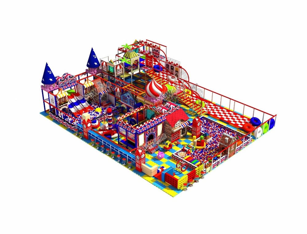 children amusement park with trampoline zone/dry skiing slide for families/ball pool maze YLW-IN180817