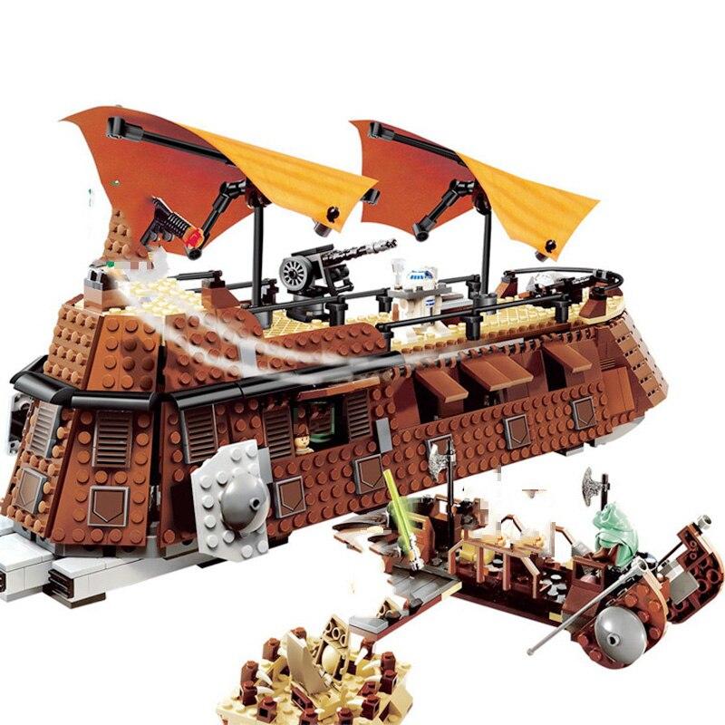 Self Locking Brick Star War The Jabba s Sail Barge Return of the Jedi 821Pcs Starwars