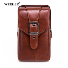WEIXIER Brand Hot Sale Genuine Leather Vintage Messenger Bag Handbag Male Zipper Small  Man Mini Shoulder 2019 High Quality