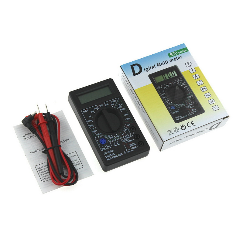 Junejour DT830B AC/DC LCD Digital Multimeter  750/1000V Auto Ranging Handheld Digital Multimeters Voltmeter Ammeter Ohm Tester