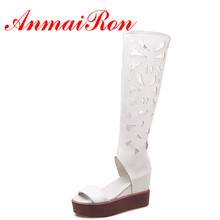 ANMAIRON Summer Women Fashion Knee High Boots Zip Wedges Cuts Outs Peep toe Women Boots Solid Soft Leather 3 Colors Boots