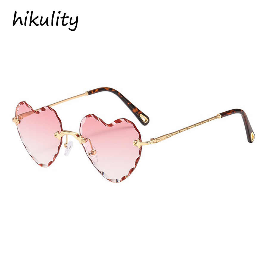 4741344bfe6 89156 Rimless Heart Designer Sunglasses Women 2018 New Ocean Color Pink  Ladies Shades Love Shaped Diamond
