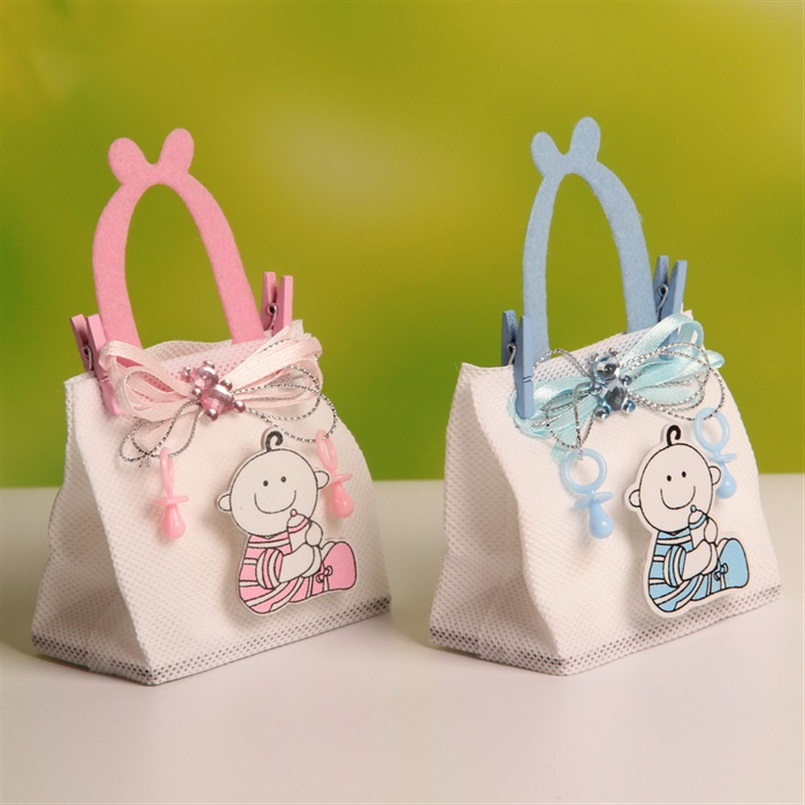 12Pcs Nonwoven Fabric Baby Shower Theme Baby Candy Bags Party Favors with Handle and Clips (BF-123)