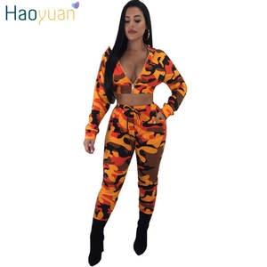 9fa71371061 HAOYUAN 2 Piece Set Women Pants Suit Two Piece Tracksuit