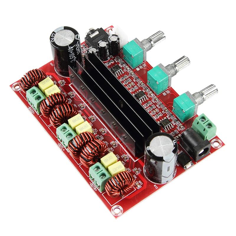 Tpa3116 2.1 placa de amplificador de potência áudio digital 2*80 w + 100 w tpa3116d2 subwoofer alto-falante amplificadores DC12-24V módulo amplificador