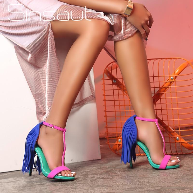 Sinsaut Summer Brand Shoes High Heels Sandals Women Ankle Strap And Platform Sandals Fringe Summer Beach Sandals Colorful
