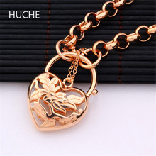 HUCHE Fashion Jewelry Rose Gold-Color Hollow Heart Pendant Bracelet Charms Jewelry Gift for Girls Bracelets Female ZL025